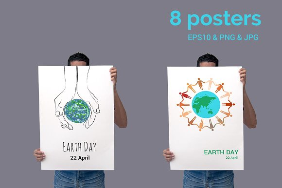EARTH DAY Vector Posters Set