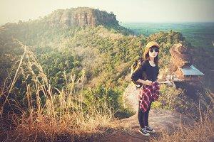 Tourist enjoying on the mountain.