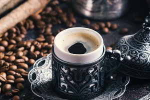 Turkish coffee in metal cup