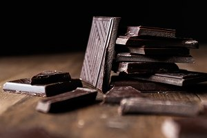 Close up of dark chocolate pieces