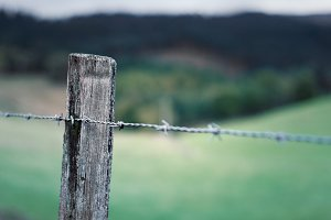 Rural wooden fence detail