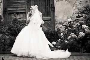 Bride on the ruined backyard
