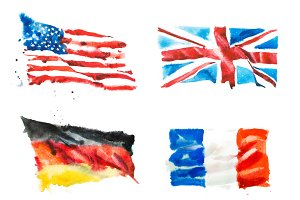 Flags of America, England, France, Germany hand drawn watercolor illustration.