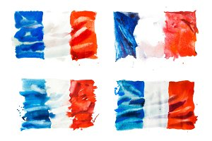Flag of France, hand drawn watercolor illustration.