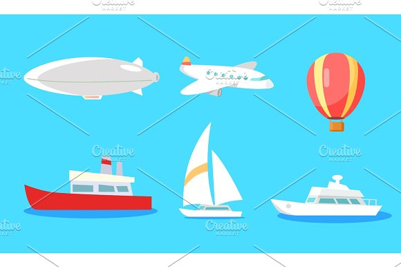 Transportation Collection On Blue Background