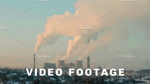 Thermal Power Plant In The Evening Real Time Middle Shot