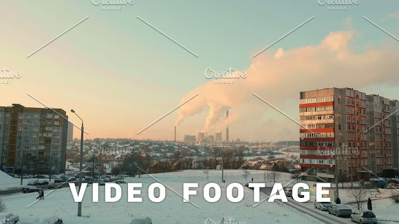 Thermal Power Plant In The Evening Real Time Wide Shot