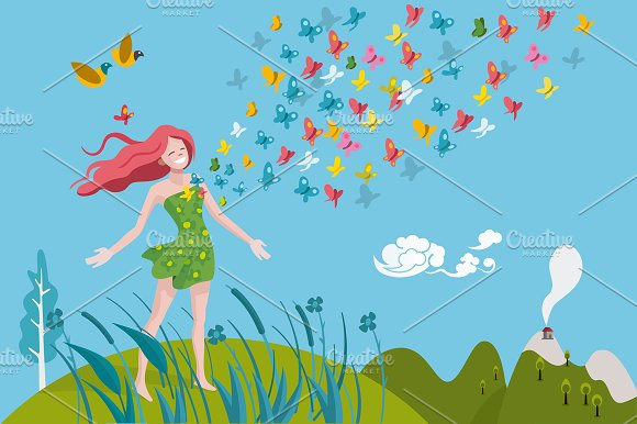 Healthy Woman And Butterflies