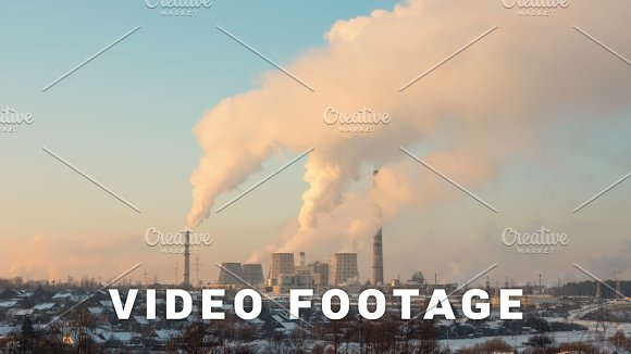 Thermal Power Station Timelapse Shot In The Evening