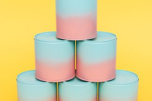 painted jars with dip-dyed