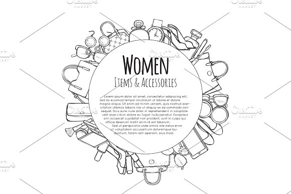 Women Items And Accessories Hand Drawn Objects