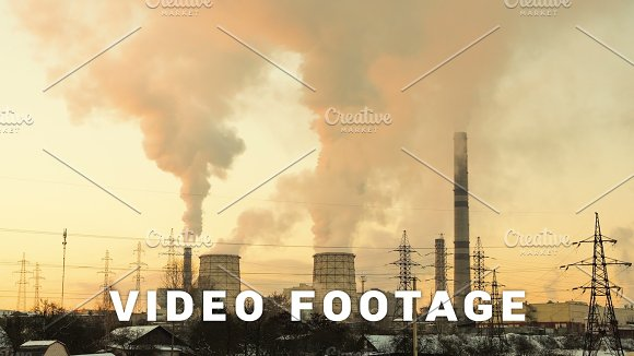 Sunset Over The Thermal Power Station Timelapse Shot