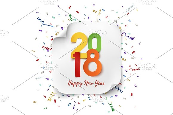 happy new year 2018 background template objects