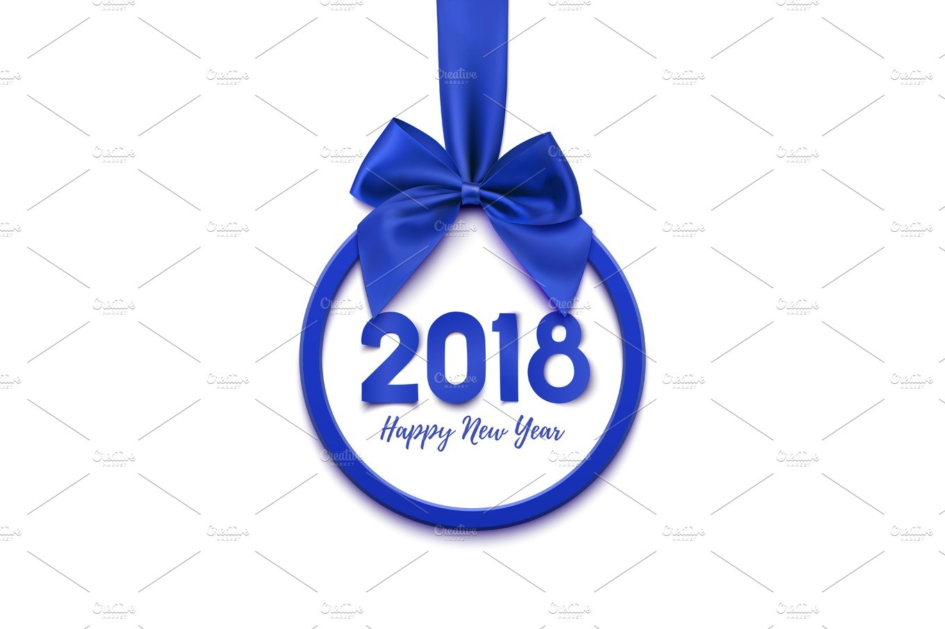 happy new year 2018 round banner with red ribbon and bow graphic
