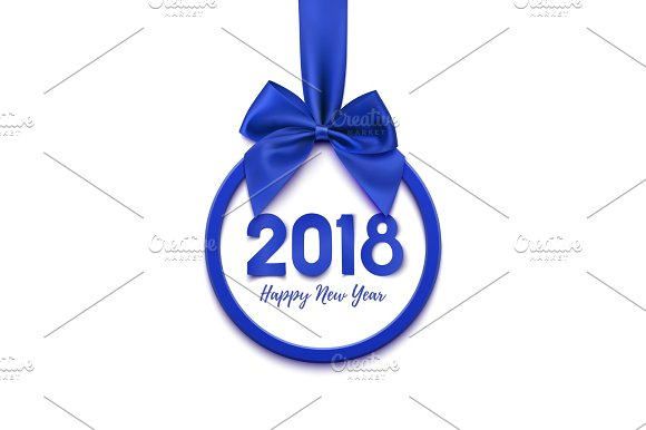 happy new year 2018 banner objects