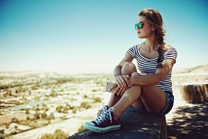 Woman in sunglasses relaxing