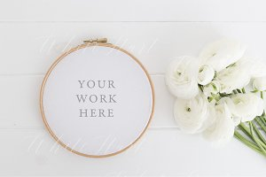 Floral embroidery hoop mock up