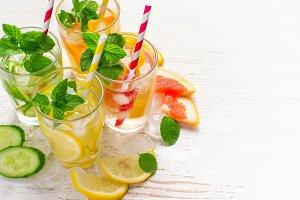 Set of Cucumber grapefruit lemon orange mint  infused water for
