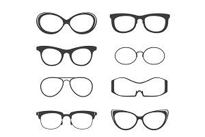 Glasses black silhouette set