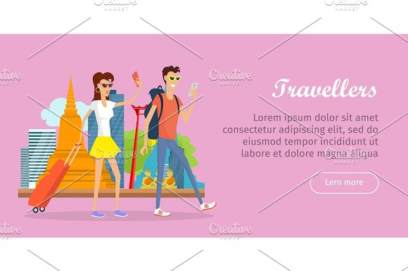 Travelers Conceptual Flat Style Vector Web Banner
