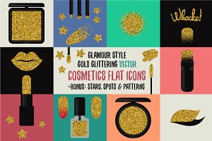 Vector gold glittering cosmetic
