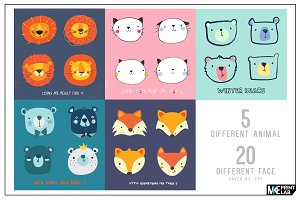 CUTE ANIMALS FACE VECTOR PACK