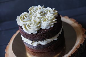 Beautiful biscuit cake with white cream