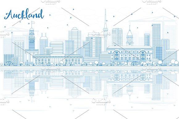 Outline Auckland Skyline