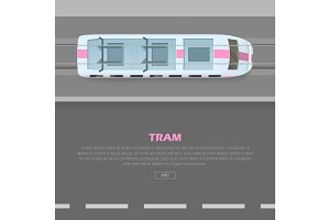 Tramway on Road Conceptual Flat Vector Web Banner