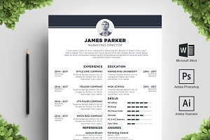 Center Midnight Resume Template