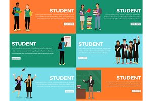 Student Everyday Life Process Colourful Web Banner