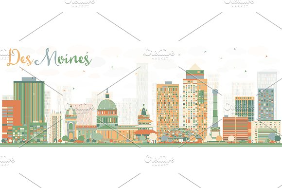 Abstract Des Moines Skyline