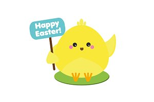 Cute easter chicken with greetings