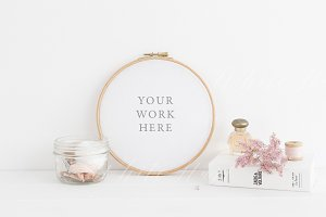 Pink floral embroidery hoop mockup