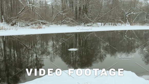 Block Of Ice Float On The Winter River Used Professional Gimbal Stabilazer