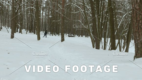 Old Man Skier In The Winter Park Used Professional Gimbal Stabilazer