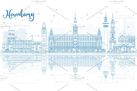 Outline Hamburg Skyline