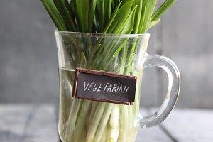 Vegetarian label and Wood garlic on vintage table