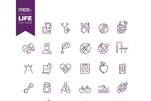 Fitness and sport web vector icons
