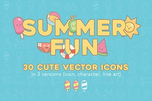 SUMMER FUN VECTOR ICONS