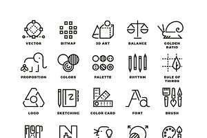 Creative design process vector icons