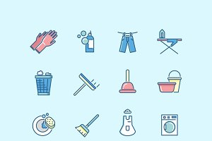 Washing and cleaning vector icons