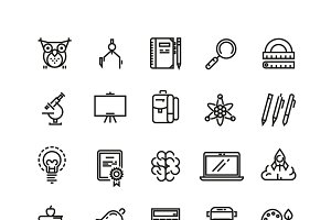 School education and learning icons
