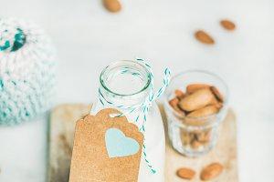 Fresh vegan dairy-free almond milk
