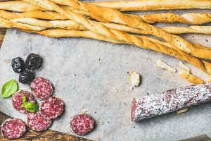 Grissini bread sticks & sausage