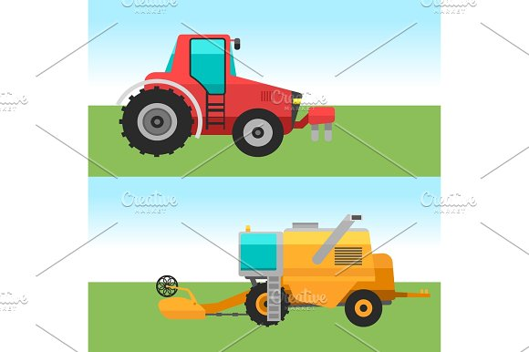 Agricultural Vehicles Cards Harvester Machine Combines And Excavators Icon Set With Accessories For Plowing Mowing Planting And Harvesting Vector Illustration