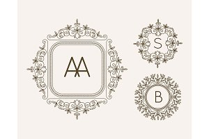 Monogram logo and text badge emblem line art vector illustration luxury template flourishes calligraphic leaves elegant ornament sign.