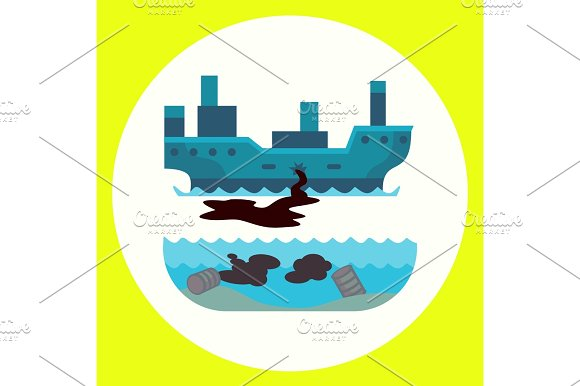 Ecological Problems Environmental Oil Pollution Of Water Earth Air Deforestation Destruction Of Animals Mills Factories Forest Protection Vector Illustration