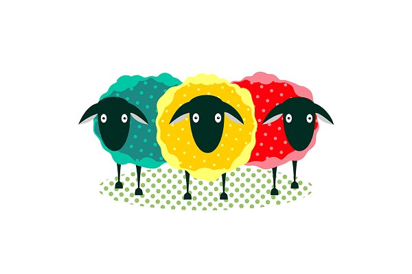 Three Sheep Illustration