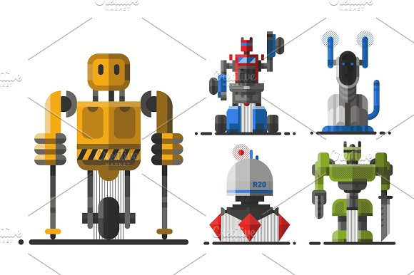 Cute Vintage Robot Technology Machine Future Science Toy And Cyborg Futuristic Design Robotic Element Icon Character Vector Illustration